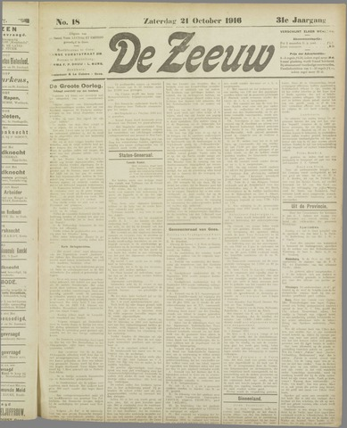 De Zeeuw. Christelijk-historisch nieuwsblad voor Zeeland 1916-10-21