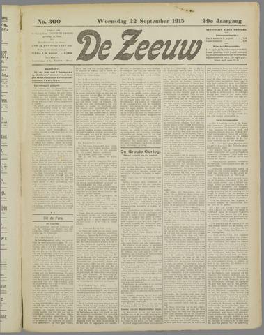 De Zeeuw. Christelijk-historisch nieuwsblad voor Zeeland 1915-09-22