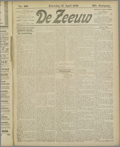 De Zeeuw. Christelijk-historisch nieuwsblad voor Zeeland 1916-04-15