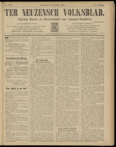 Ter Neuzensch Volksblad. Vrijzinnig nieuws- en advertentieblad voor Zeeuwsch- Vlaanderen / Zeeuwsch Nieuwsblad. Nieuws- en advertentieblad voor Zeeland 1916-09-30