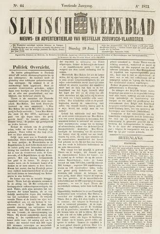 Sluisch Weekblad. Nieuws- en advertentieblad voor Westelijk Zeeuwsch-Vlaanderen 1873-06-10