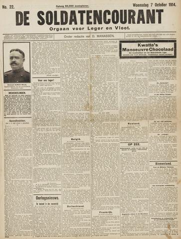 De Soldatencourant. Orgaan voor Leger en Vloot 1914-10-07