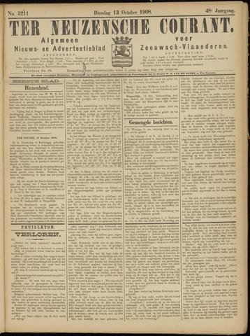Ter Neuzensche Courant. Algemeen Nieuws- en Advertentieblad voor Zeeuwsch-Vlaanderen / Neuzensche Courant ... (idem) / (Algemeen) nieuws en advertentieblad voor Zeeuwsch-Vlaanderen 1908-10-13