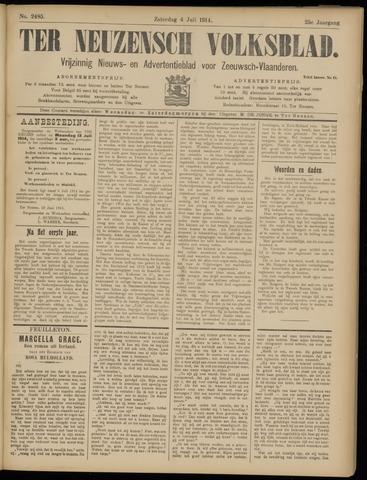 Ter Neuzensch Volksblad. Vrijzinnig nieuws- en advertentieblad voor Zeeuwsch- Vlaanderen / Zeeuwsch Nieuwsblad. Nieuws- en advertentieblad voor Zeeland 1914-07-04