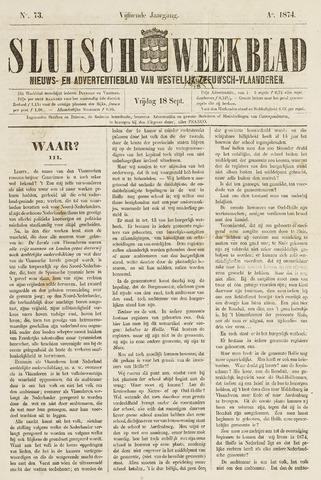 Sluisch Weekblad. Nieuws- en advertentieblad voor Westelijk Zeeuwsch-Vlaanderen 1874-09-18