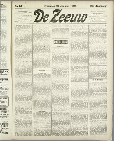 De Zeeuw. Christelijk-historisch nieuwsblad voor Zeeland 1924-01-21