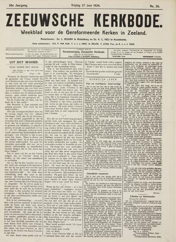 Zeeuwsche kerkbode, weekblad gewijd aan de belangen der gereformeerde kerken/ Zeeuwsch kerkblad 1924-06-27