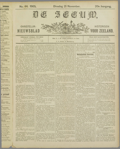 De Zeeuw. Christelijk-historisch nieuwsblad voor Zeeland 1905-11-21