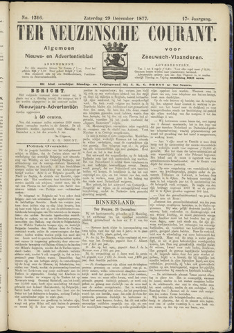 Ter Neuzensche Courant. Algemeen Nieuws- en Advertentieblad voor Zeeuwsch-Vlaanderen / Neuzensche Courant ... (idem) / (Algemeen) nieuws en advertentieblad voor Zeeuwsch-Vlaanderen 1877-12-29