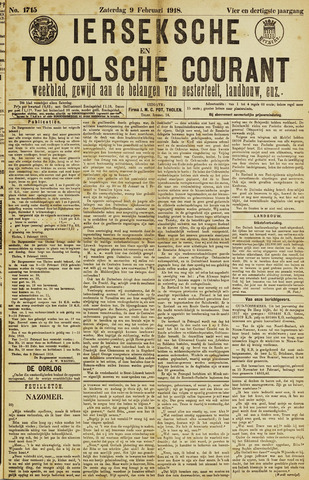 Ierseksche en Thoolsche Courant 1918-02-09