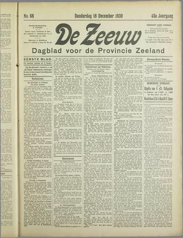 De Zeeuw. Christelijk-historisch nieuwsblad voor Zeeland 1930-12-18