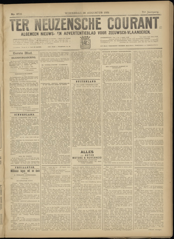 Ter Neuzensche Courant. Algemeen Nieuws- en Advertentieblad voor Zeeuwsch-Vlaanderen / Neuzensche Courant ... (idem) / (Algemeen) nieuws en advertentieblad voor Zeeuwsch-Vlaanderen 1931-08-26