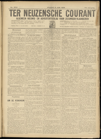 Ter Neuzensche Courant. Algemeen Nieuws- en Advertentieblad voor Zeeuwsch-Vlaanderen / Neuzensche Courant ... (idem) / (Algemeen) nieuws en advertentieblad voor Zeeuwsch-Vlaanderen 1934-06-08