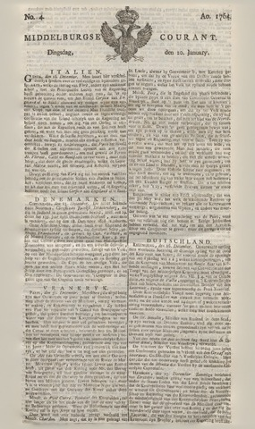 Middelburgsche Courant 1764-01-10