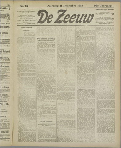 De Zeeuw. Christelijk-historisch nieuwsblad voor Zeeland 1915-12-11