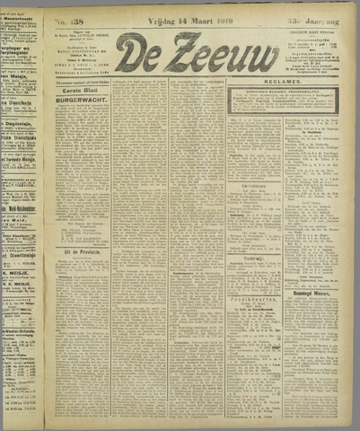De Zeeuw. Christelijk-historisch nieuwsblad voor Zeeland 1919-03-14