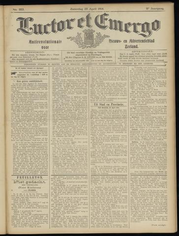 Luctor et Emergo. Antirevolutionair nieuws- en advertentieblad voor Zeeland / Zeeuwsch-Vlaanderen. Orgaan ter verspreiding van de christelijke beginselen in Zeeuwsch-Vlaanderen 1914-04-25