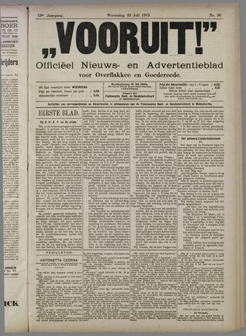 """""""Vooruit!""""Officieel Nieuws- en Advertentieblad voor Overflakkee en Goedereede 1913-07-23"""