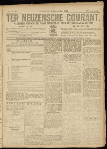 Ter Neuzensche Courant. Algemeen Nieuws- en Advertentieblad voor Zeeuwsch-Vlaanderen / Neuzensche Courant ... (idem) / (Algemeen) nieuws en advertentieblad voor Zeeuwsch-Vlaanderen 1918-09-05