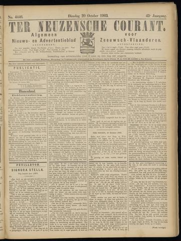 Ter Neuzensche Courant. Algemeen Nieuws- en Advertentieblad voor Zeeuwsch-Vlaanderen / Neuzensche Courant ... (idem) / (Algemeen) nieuws en advertentieblad voor Zeeuwsch-Vlaanderen 1903-10-20