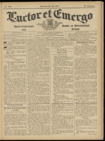 Luctor et Emergo. Antirevolutionair nieuws- en advertentieblad voor Zeeland / Zeeuwsch-Vlaanderen. Orgaan ter verspreiding van de christelijke beginselen in Zeeuwsch-Vlaanderen 1912-07-20