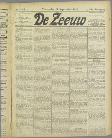 De Zeeuw. Christelijk-historisch nieuwsblad voor Zeeland 1919-09-17