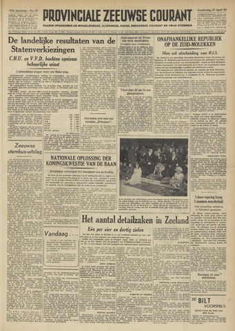 Provinciale Zeeuwse Courant 1950-04-27