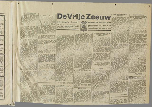 de Vrije Zeeuw 1944-11-25