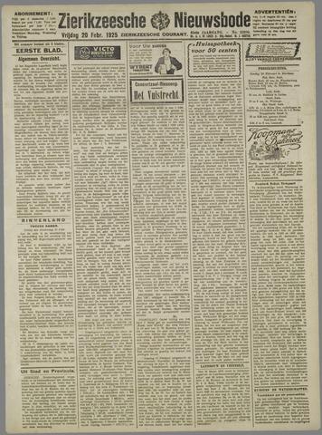 Zierikzeesche Nieuwsbode 1925-02-20