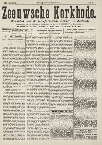 Zeeuwsche kerkbode, weekblad gewijd aan de belangen der gereformeerde kerken/ Zeeuwsch kerkblad 1920-09-10