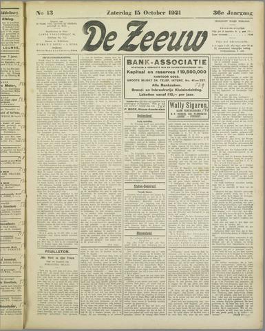 De Zeeuw. Christelijk-historisch nieuwsblad voor Zeeland 1921-10-15