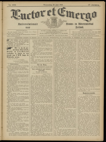 Luctor et Emergo. Antirevolutionair nieuws- en advertentieblad voor Zeeland / Zeeuwsch-Vlaanderen. Orgaan ter verspreiding van de christelijke beginselen in Zeeuwsch-Vlaanderen 1915-07-21