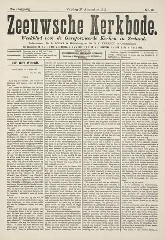 Zeeuwsche kerkbode, weekblad gewijd aan de belangen der gereformeerde kerken/ Zeeuwsch kerkblad 1915-08-27