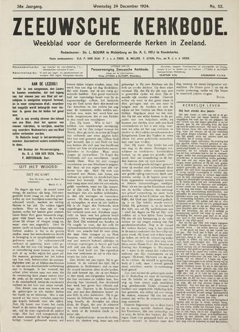 Zeeuwsche kerkbode, weekblad gewijd aan de belangen der gereformeerde kerken/ Zeeuwsch kerkblad 1924-12-24