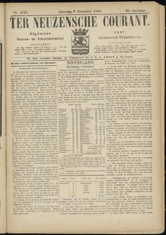 Ter Neuzensche Courant. Algemeen Nieuws- en Advertentieblad voor Zeeuwsch-Vlaanderen / Neuzensche Courant ... (idem) / (Algemeen) nieuws en advertentieblad voor Zeeuwsch-Vlaanderen 1881-12-03