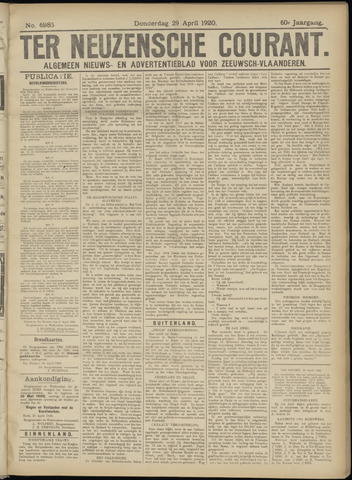 Ter Neuzensche Courant. Algemeen Nieuws- en Advertentieblad voor Zeeuwsch-Vlaanderen / Neuzensche Courant ... (idem) / (Algemeen) nieuws en advertentieblad voor Zeeuwsch-Vlaanderen 1920-04-29