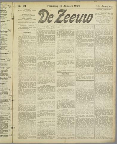 De Zeeuw. Christelijk-historisch nieuwsblad voor Zeeland 1920-01-19