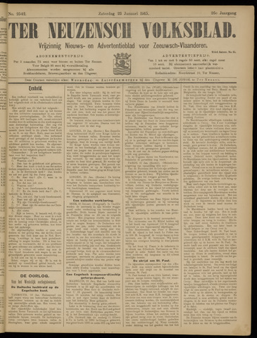 Ter Neuzensch Volksblad. Vrijzinnig nieuws- en advertentieblad voor Zeeuwsch- Vlaanderen / Zeeuwsch Nieuwsblad. Nieuws- en advertentieblad voor Zeeland 1915-01-23