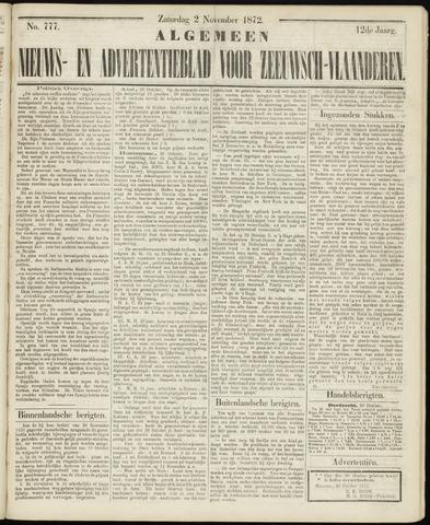 Ter Neuzensche Courant. Algemeen Nieuws- en Advertentieblad voor Zeeuwsch-Vlaanderen / Neuzensche Courant ... (idem) / (Algemeen) nieuws en advertentieblad voor Zeeuwsch-Vlaanderen 1872-11-02
