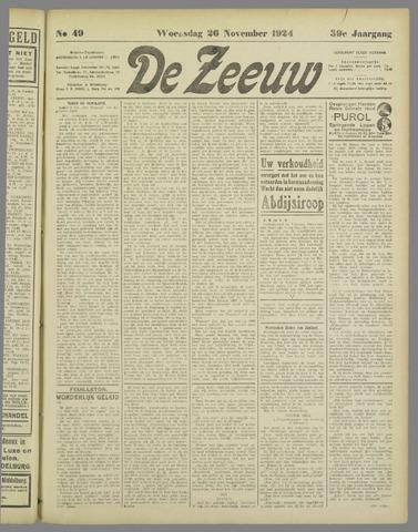 De Zeeuw. Christelijk-historisch nieuwsblad voor Zeeland 1924-11-26