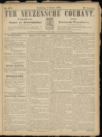 Ter Neuzensche Courant. Algemeen Nieuws- en Advertentieblad voor Zeeuwsch-Vlaanderen / Neuzensche Courant ... (idem) / (Algemeen) nieuws en advertentieblad voor Zeeuwsch-Vlaanderen 1899-10-05