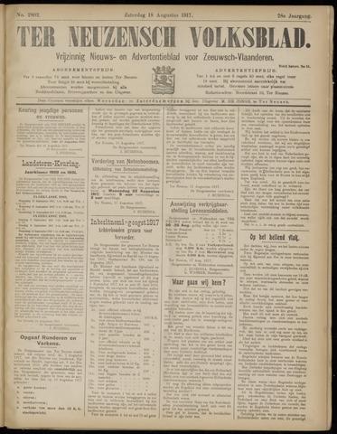 Ter Neuzensch Volksblad. Vrijzinnig nieuws- en advertentieblad voor Zeeuwsch- Vlaanderen / Zeeuwsch Nieuwsblad. Nieuws- en advertentieblad voor Zeeland 1917-08-18