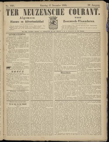 Ter Neuzensche Courant. Algemeen Nieuws- en Advertentieblad voor Zeeuwsch-Vlaanderen / Neuzensche Courant ... (idem) / (Algemeen) nieuws en advertentieblad voor Zeeuwsch-Vlaanderen 1883-11-17