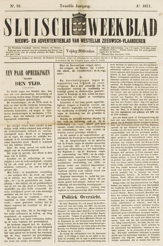 Sluisch Weekblad. Nieuws- en advertentieblad voor Westelijk Zeeuwsch-Vlaanderen 1871-10-20