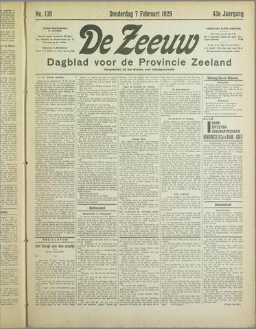 De Zeeuw. Christelijk-historisch nieuwsblad voor Zeeland 1929-02-07
