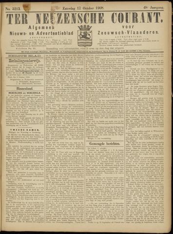 Ter Neuzensche Courant. Algemeen Nieuws- en Advertentieblad voor Zeeuwsch-Vlaanderen / Neuzensche Courant ... (idem) / (Algemeen) nieuws en advertentieblad voor Zeeuwsch-Vlaanderen 1908-10-17