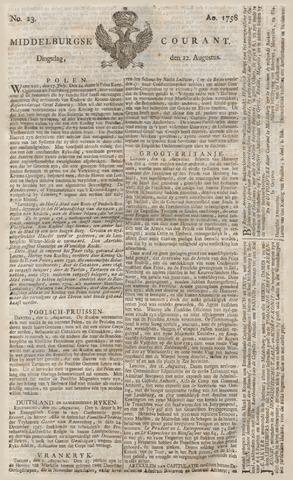 Middelburgsche Courant 1758-08-22
