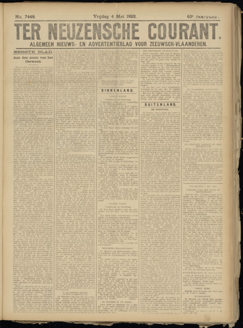 Ter Neuzensche Courant. Algemeen Nieuws- en Advertentieblad voor Zeeuwsch-Vlaanderen / Neuzensche Courant ... (idem) / (Algemeen) nieuws en advertentieblad voor Zeeuwsch-Vlaanderen 1923-05-04