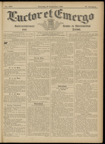Luctor et Emergo. Antirevolutionair nieuws- en advertentieblad voor Zeeland / Zeeuwsch-Vlaanderen. Orgaan ter verspreiding van de christelijke beginselen in Zeeuwsch-Vlaanderen 1915-09-18