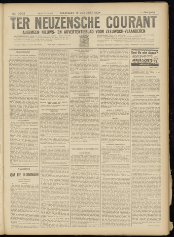 Ter Neuzensche Courant. Algemeen Nieuws- en Advertentieblad voor Zeeuwsch-Vlaanderen / Neuzensche Courant ... (idem) / (Algemeen) nieuws en advertentieblad voor Zeeuwsch-Vlaanderen 1934-10-15